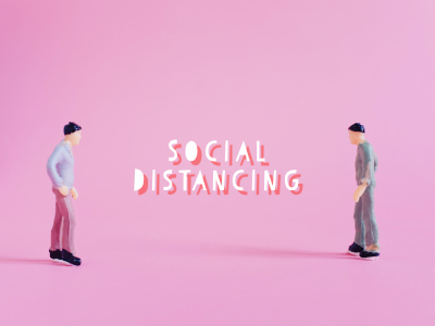 Social distance concept, miniature people standing keep distance